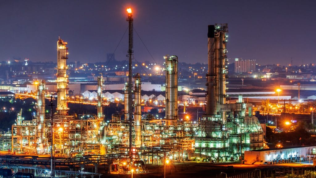 Oil refinery and industrial city After sunset
